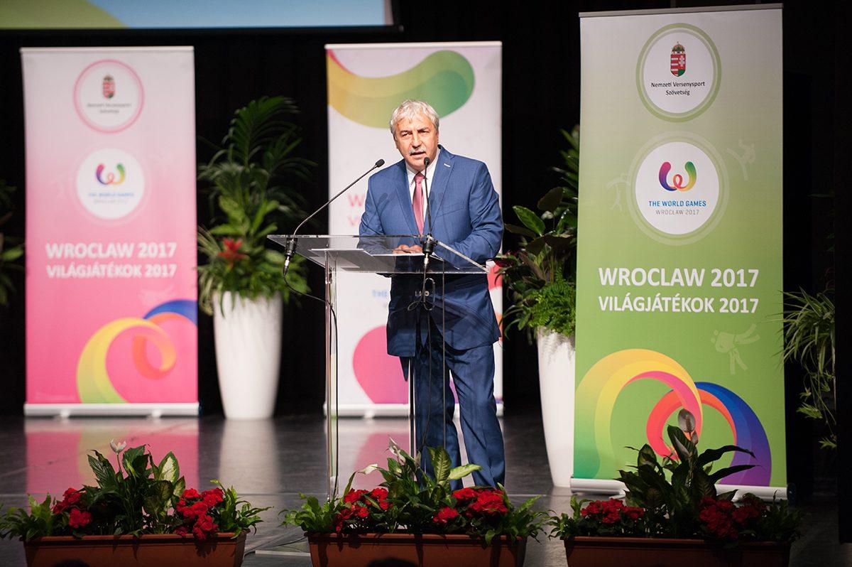 Dr. Mészáros János, a Nemzeti Versenysport Szövetség elnöke beszédet mond.